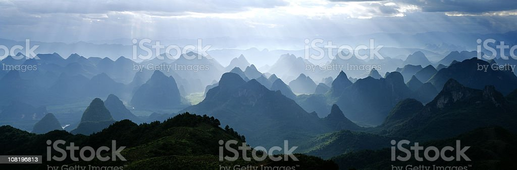Sunlight over the hills royalty-free stock photo