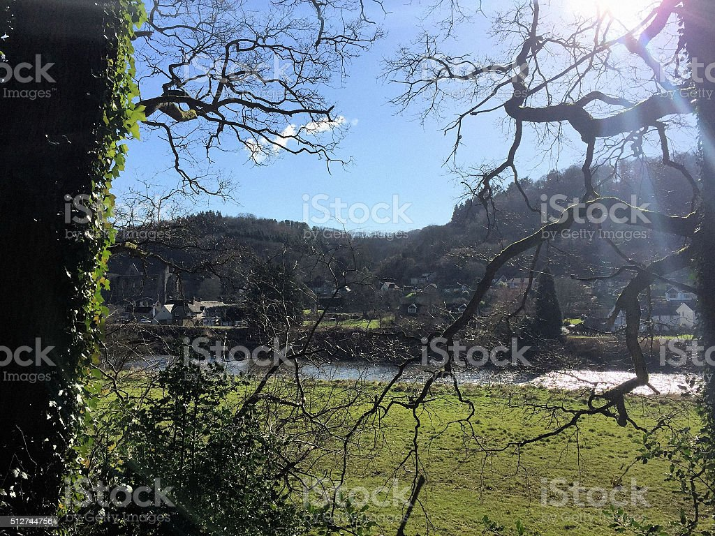 Sunlight over the River Wye in Tintern stock photo