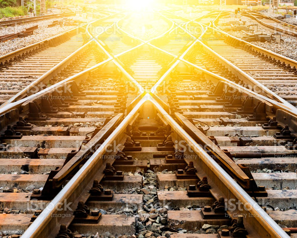 sunlight Railroad Track stock photo