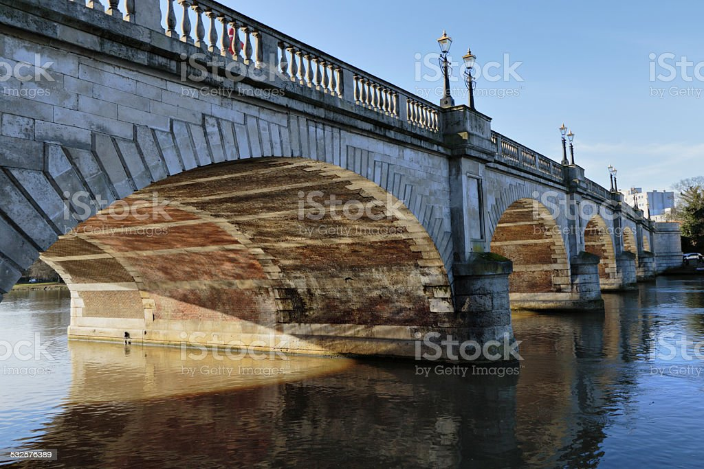 Five-span bridge across the River Thames at Kingston stock photo