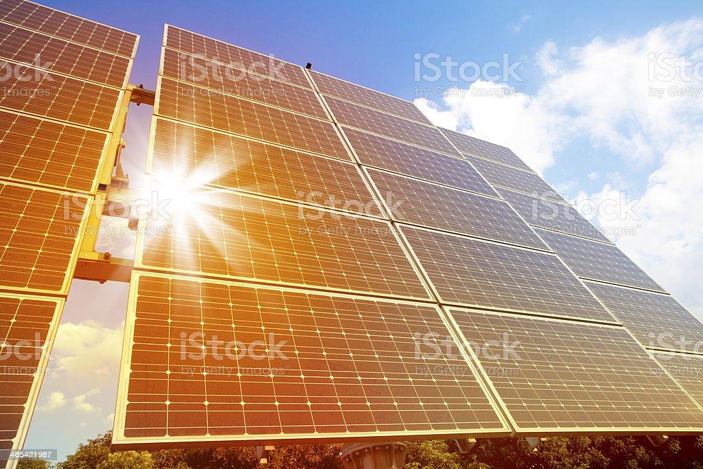Sunlight Reflecting on Solar Panels stock photo