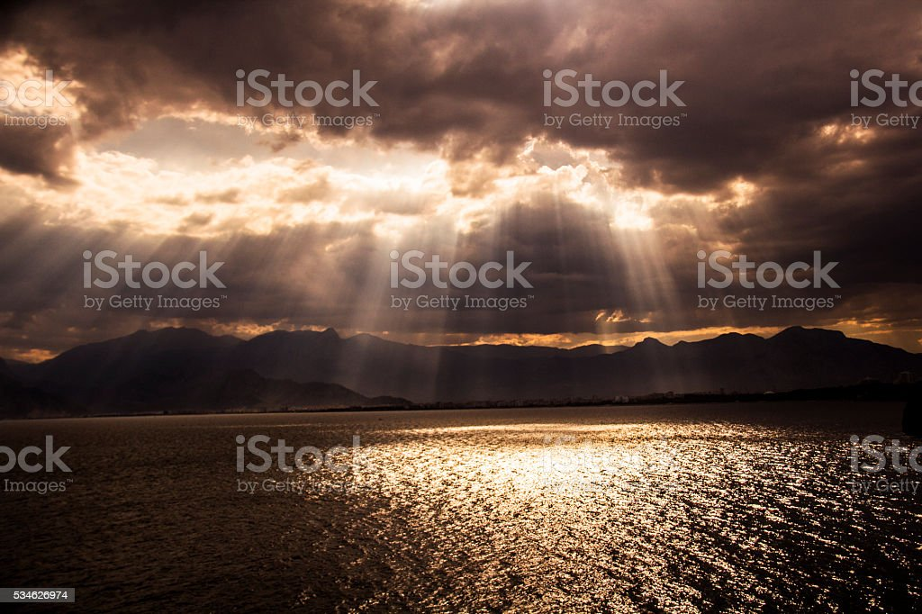 Sunlight reflection on sea. stock photo
