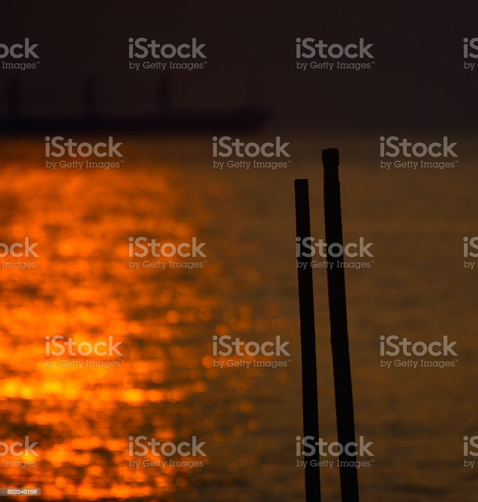 Sunlight reflection with two objects - stock image stock photo