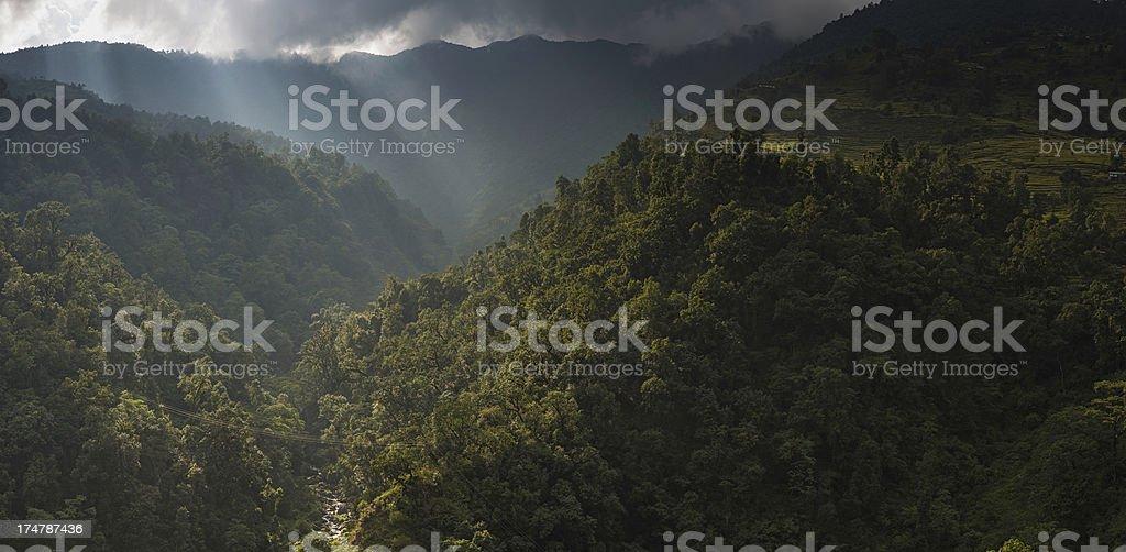 Sunlight shining on green jungle and terraces Himalayas Nepal stock photo
