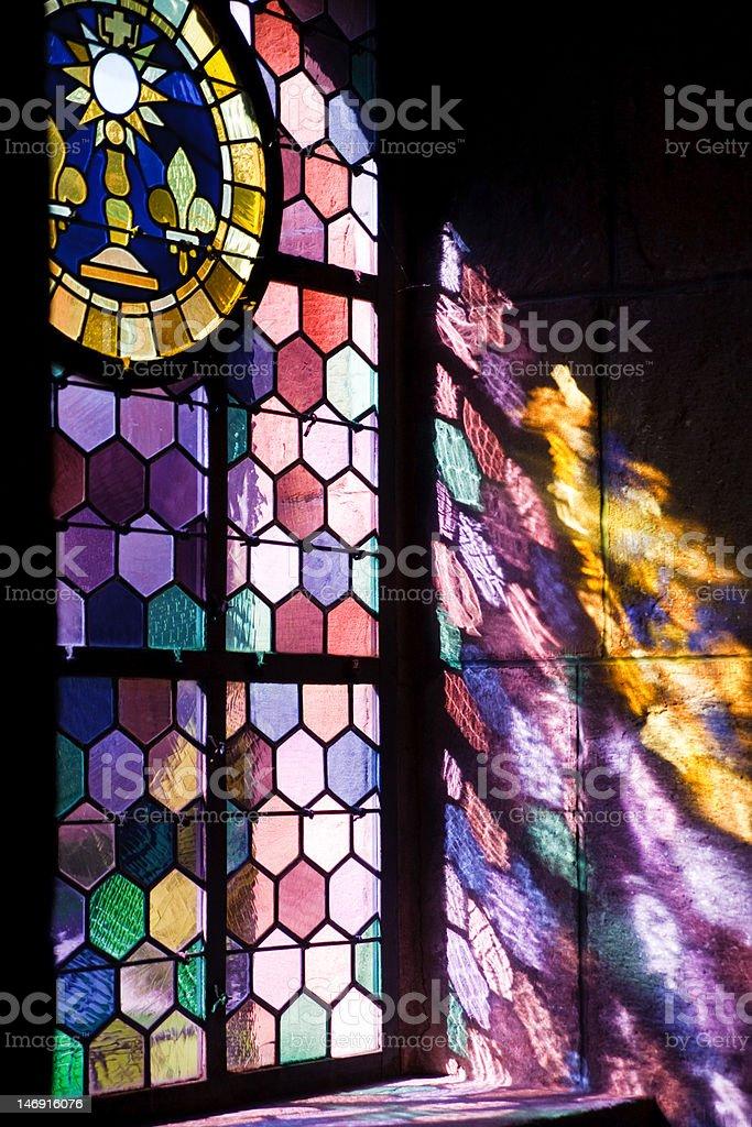 sunlight shining throw colored window royalty-free stock photo