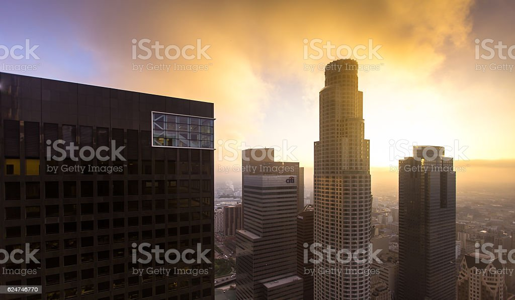 Sunlight Through Smog stock photo