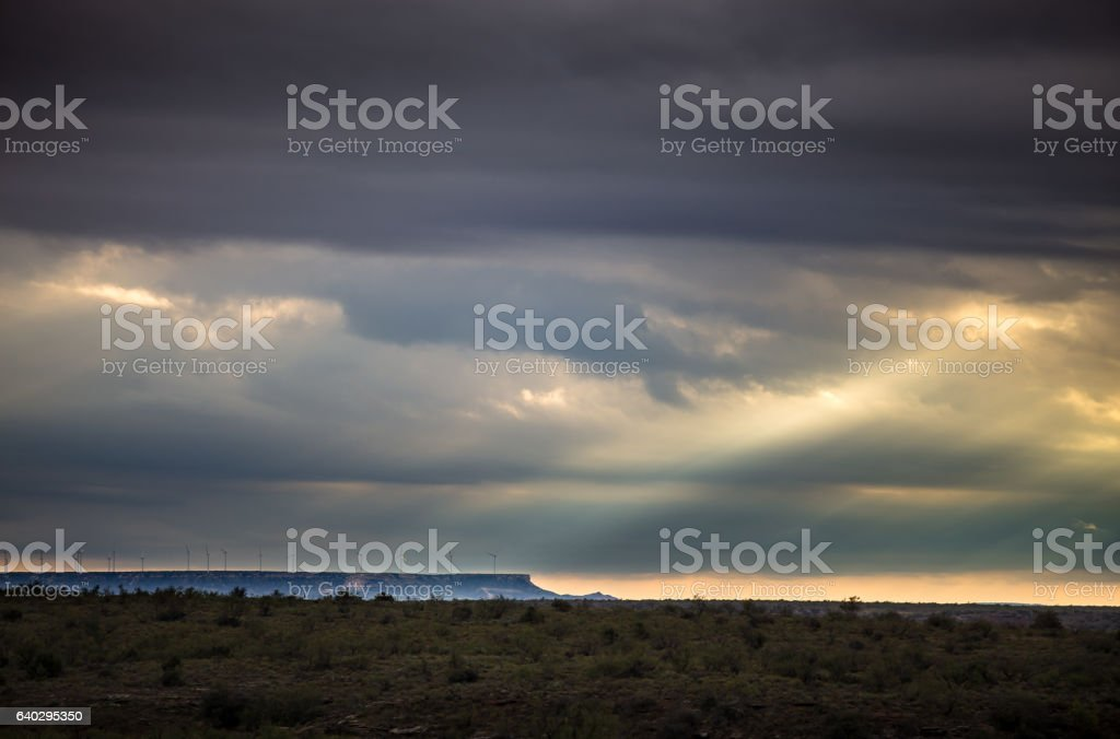 Sunlight Through Storm Clouds in West Texas stock photo