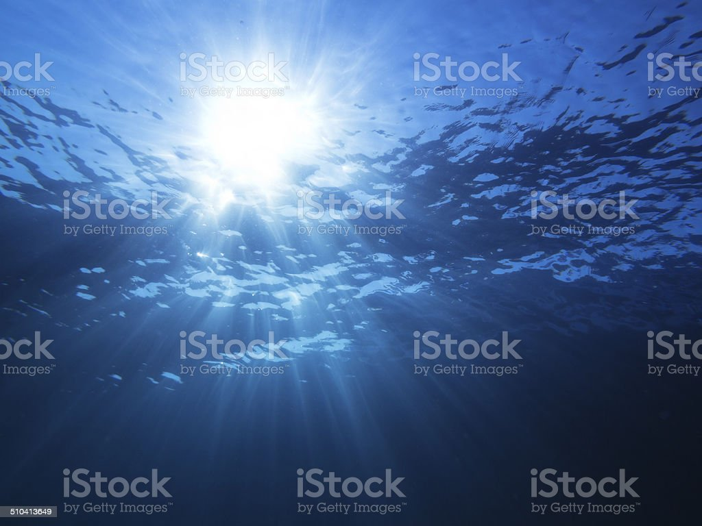 Sunlight Under The Sea stock photo