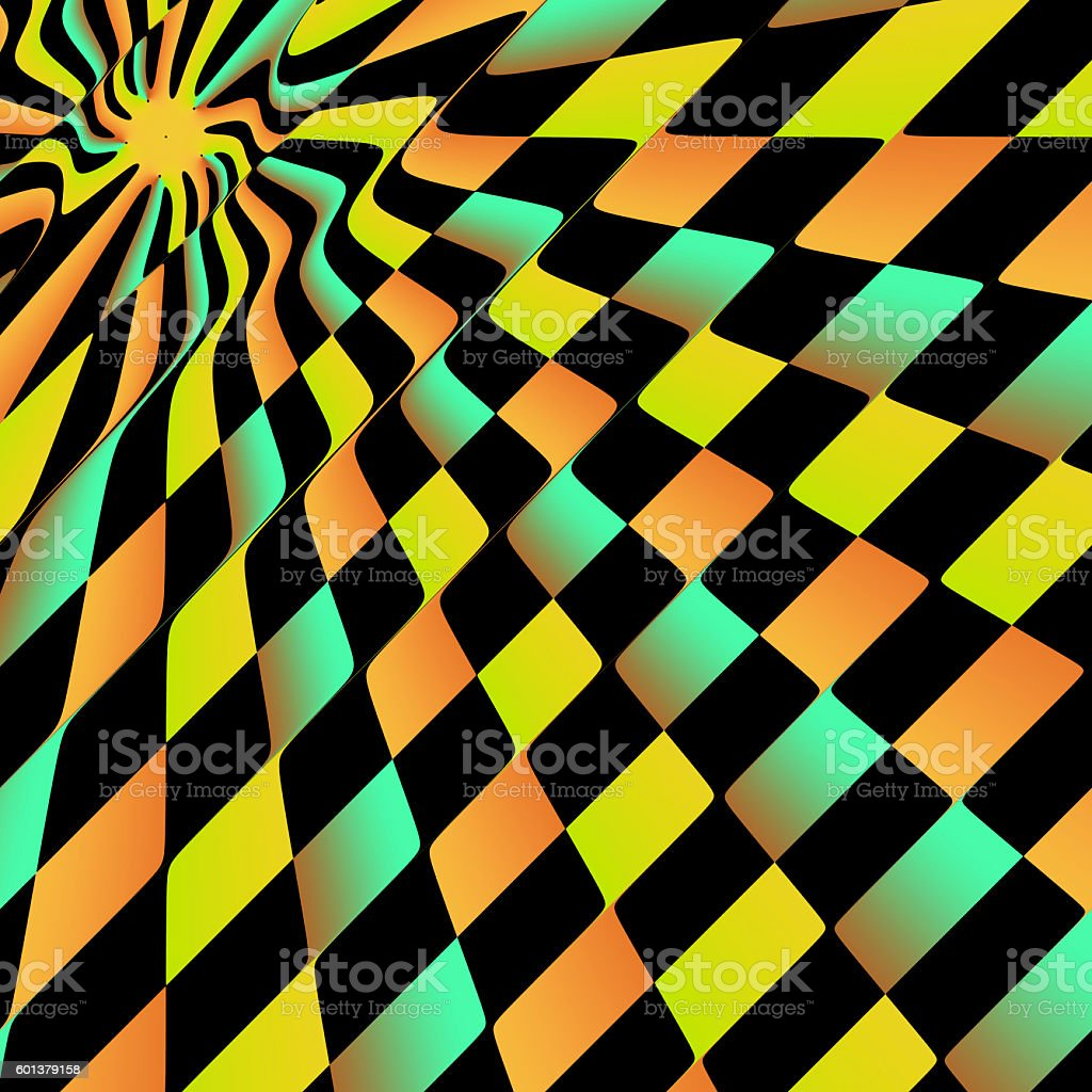Multi-coloured chequered board in slanting perspective stock photo