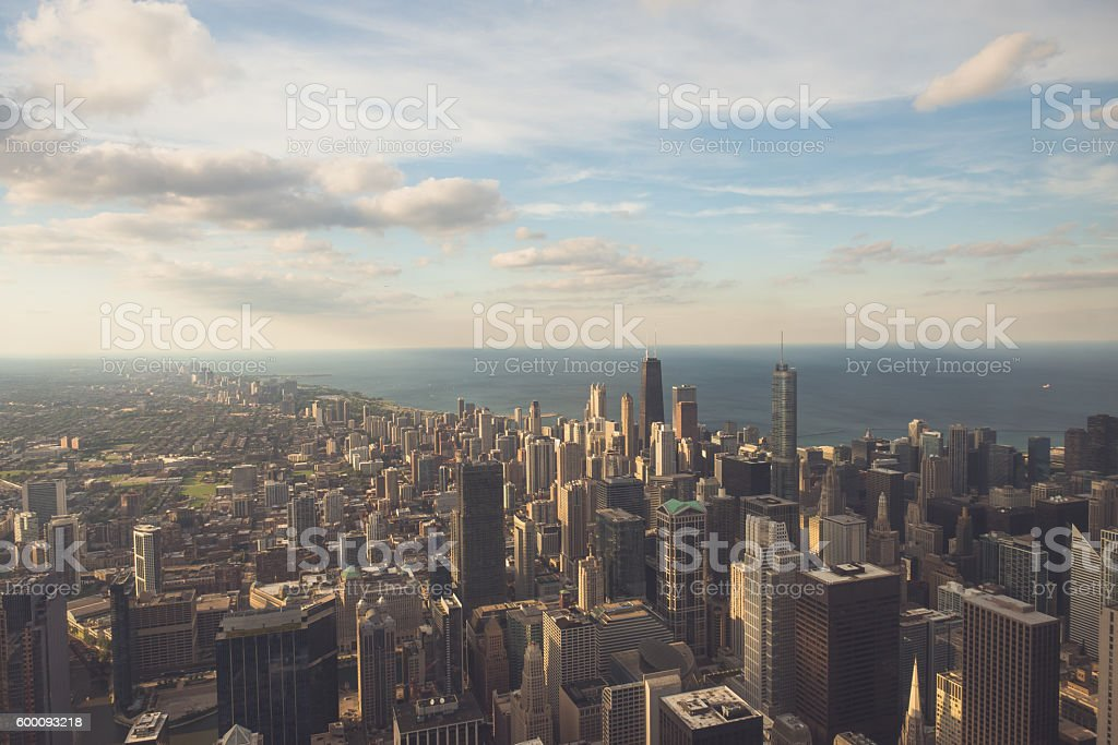 Sunlit Chicago stock photo