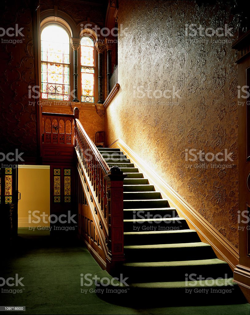 Sunlit interior carpeted staircase stock photo
