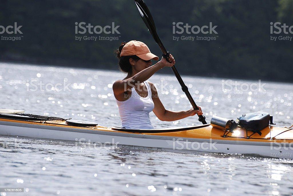 Sunlit Kayak Girl royalty-free stock photo
