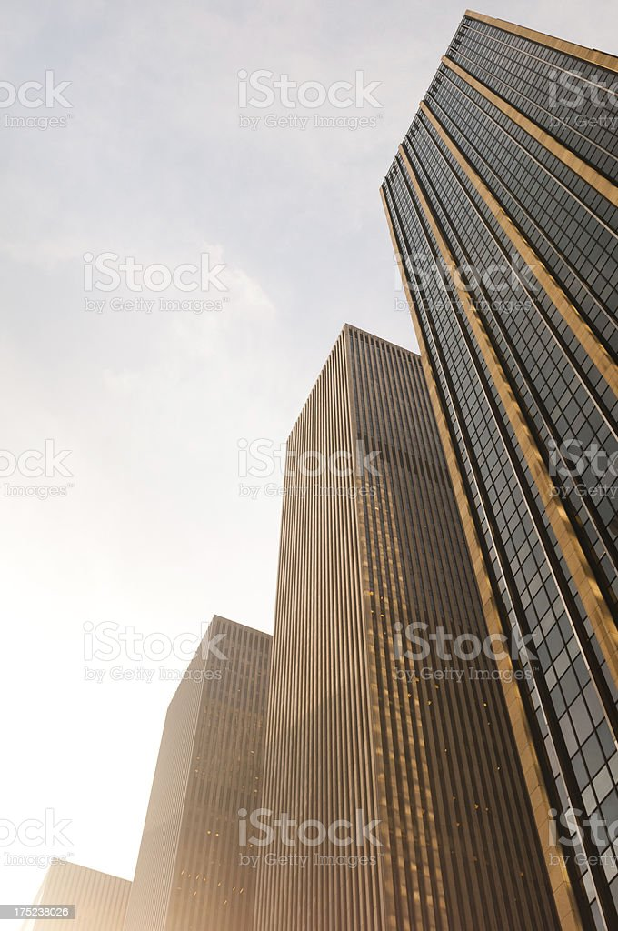 Sunlit Manhattan skyscrapers royalty-free stock photo
