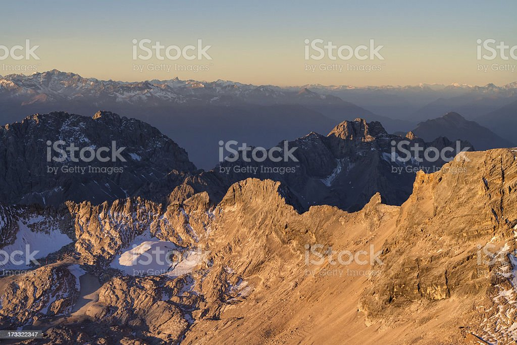 sunlit mountains in western europe royalty-free stock photo
