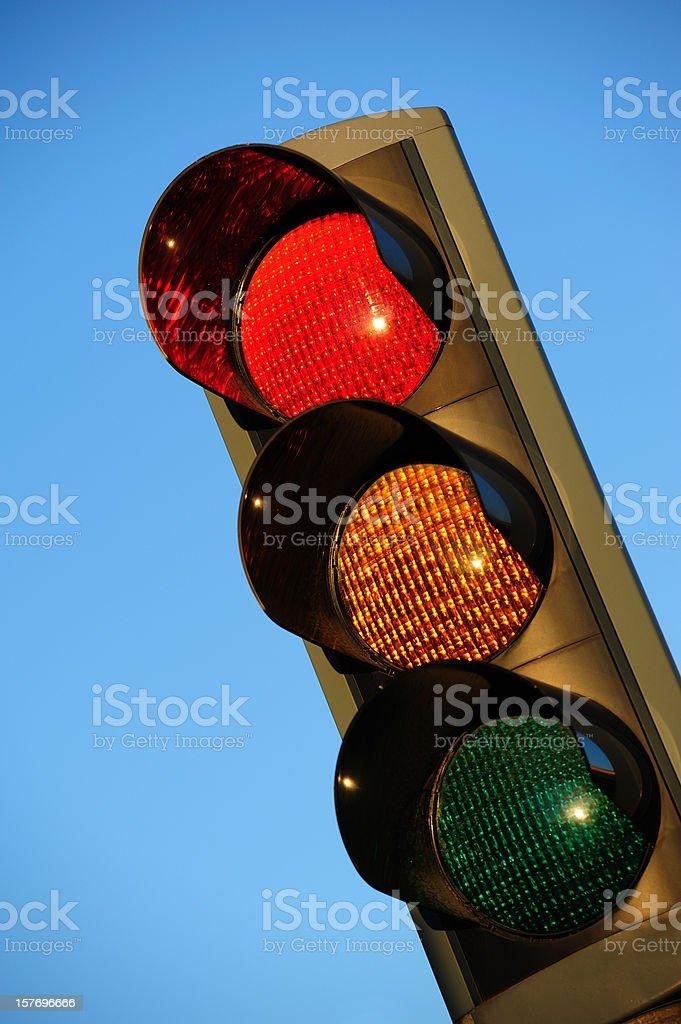 Sunlit red traffic light royalty-free stock photo