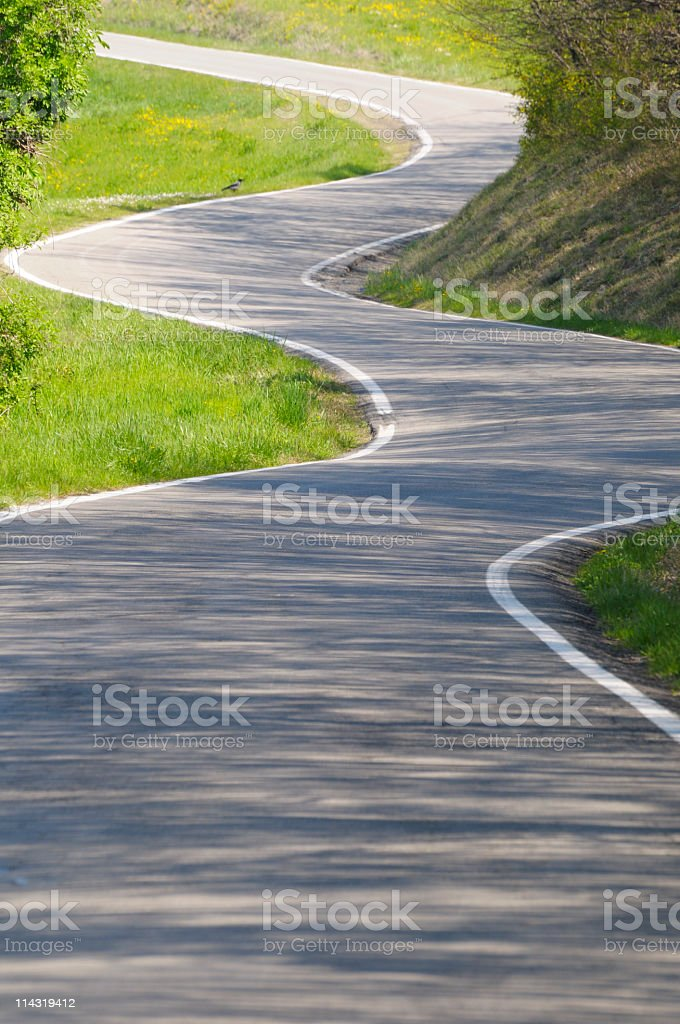 Sunlit Winding Country Road stock photo