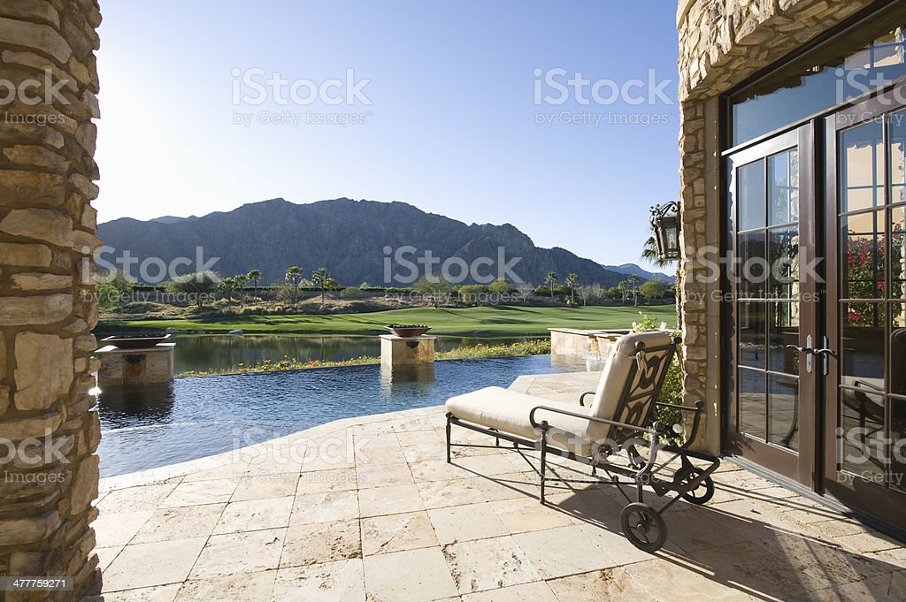 Sunlounger With View Of Mountains stock photo