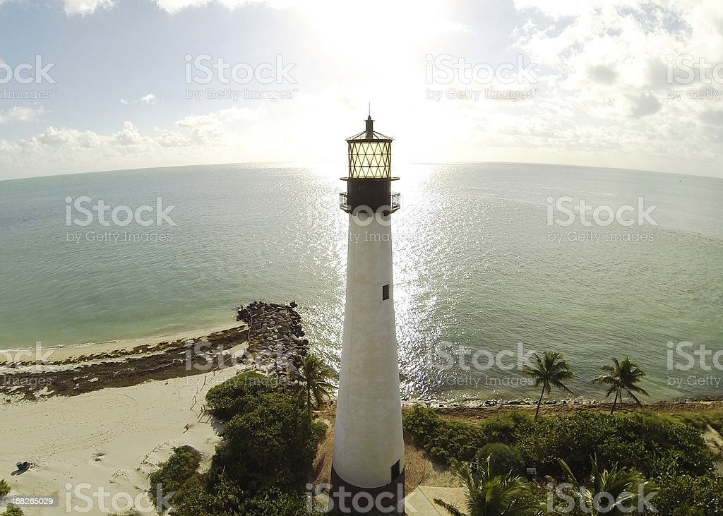 Sunny, aerial view of Cape Florida Lighthouse, Key Biscayne stock photo