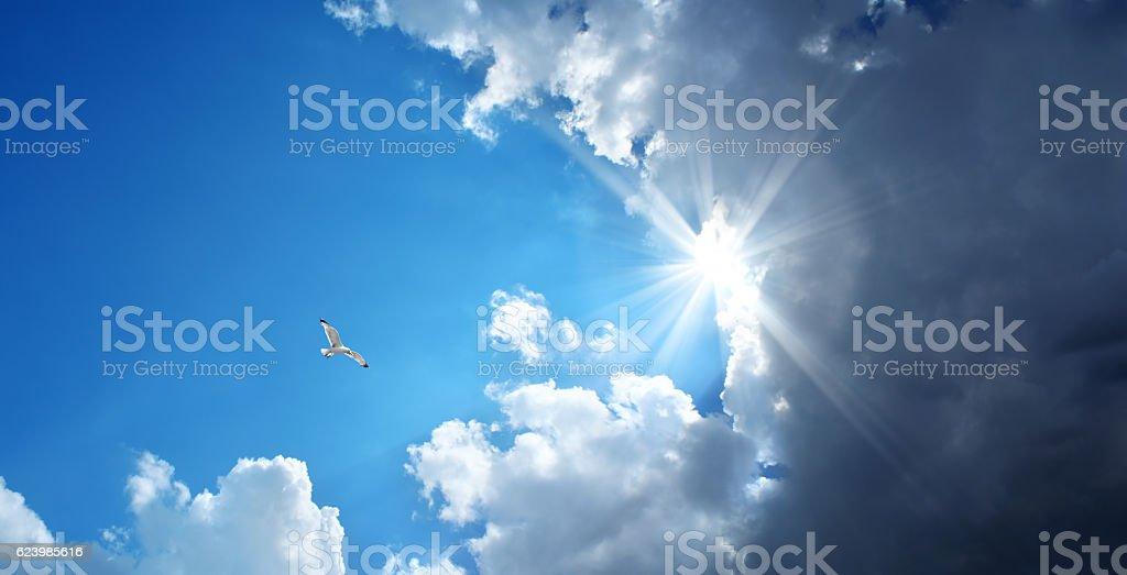 sunny and stormy sky stock photo
