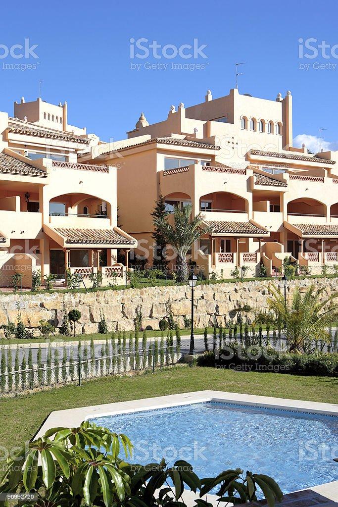Sunny Apartment Block on Spanish Urbanisation royalty-free stock photo