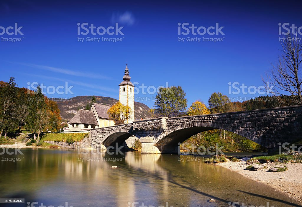 Sunny autumn day on Lake Bohinj, Slovenia stock photo