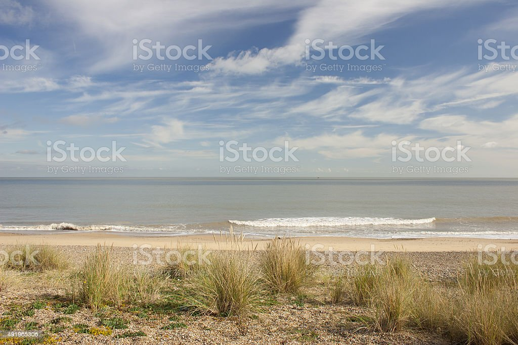 Sunny autumn day on Sizewell beach, Suffolk stock photo