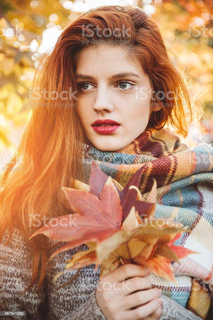 Sunny autumn day stock photo