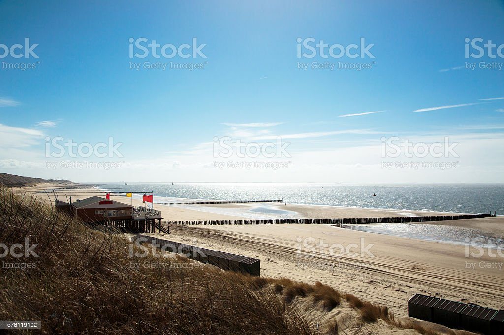 Sunny Beach at Zoutelande / Netherlands stock photo
