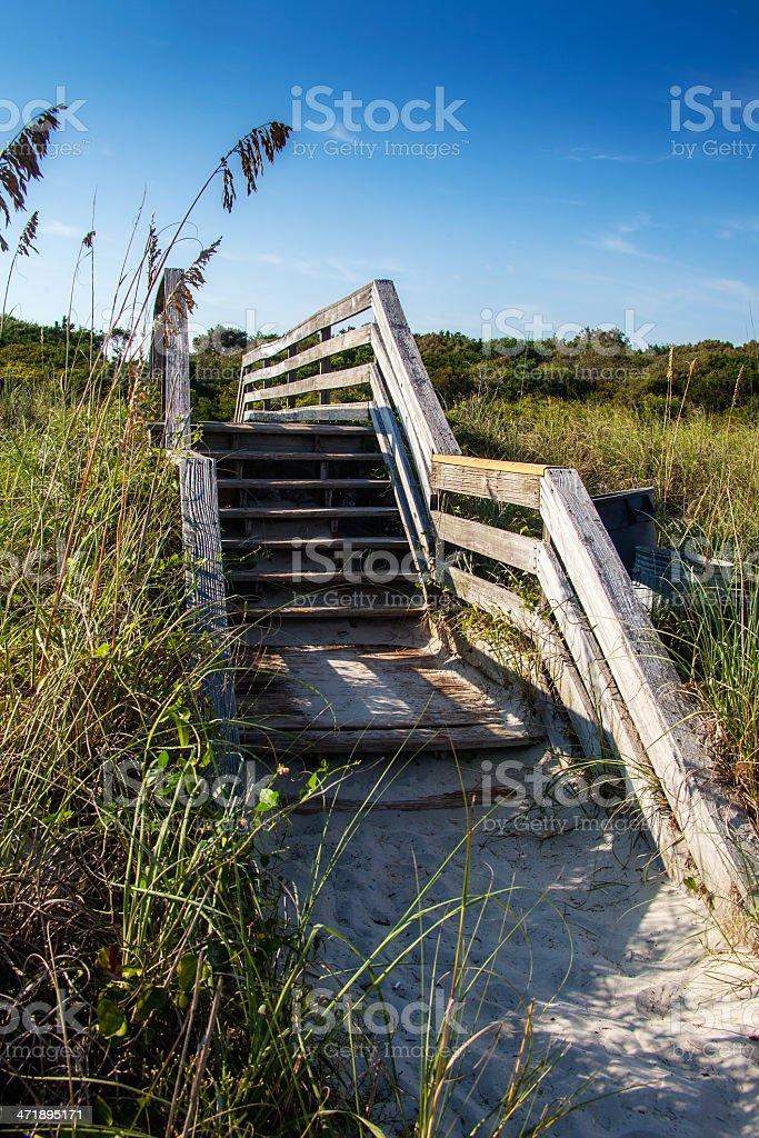 Sunny Beach Boardwalk Stairway Up royalty-free stock photo