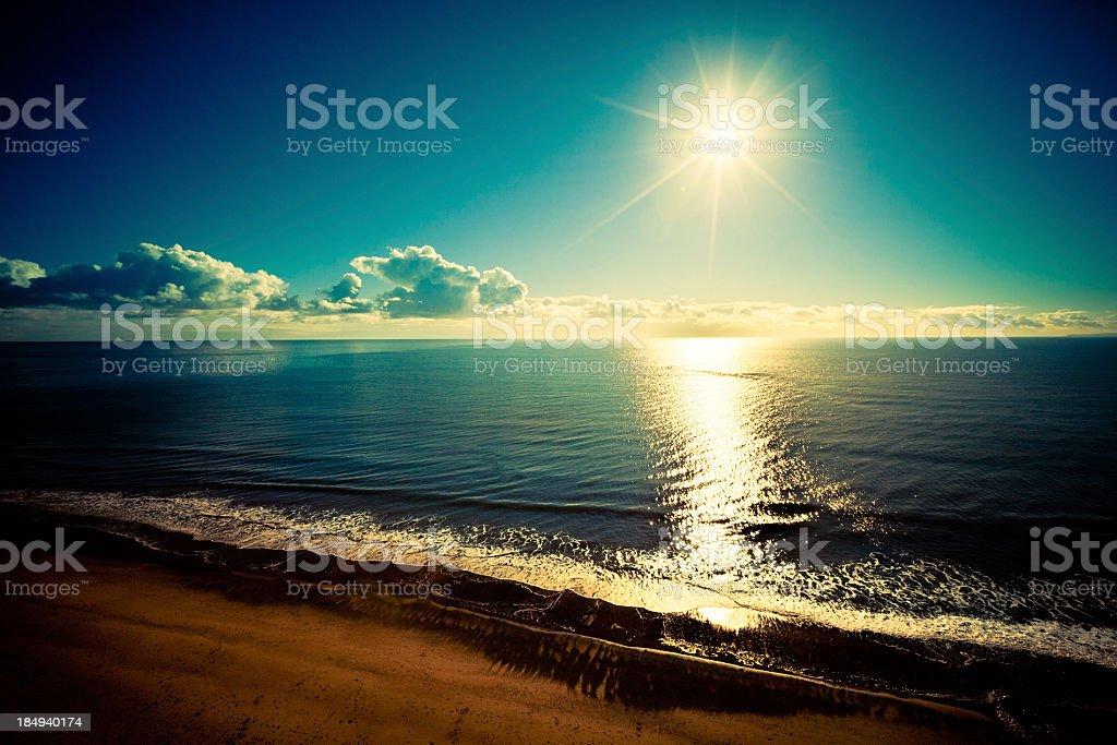 Sunny beach day in Devon royalty-free stock photo