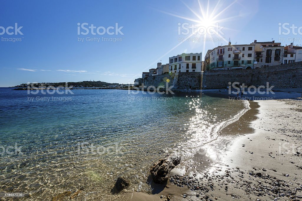 Sunny Beach in the Town of Antibes on French Riviera stock photo