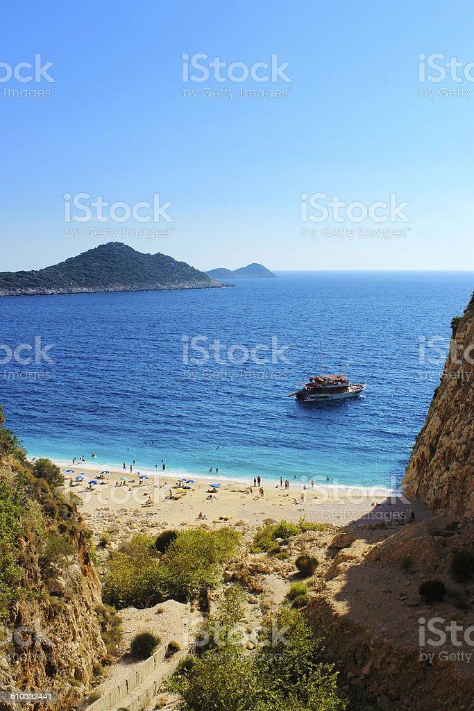Sunny beach in Turkey stock photo