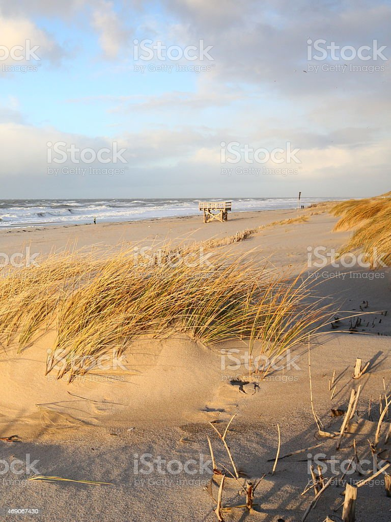 sunny beach on Sylt in winter stock photo