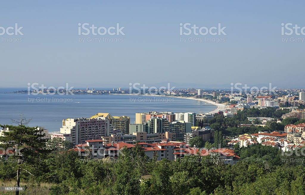 Sunny Beach resort and the town of Nessebar stock photo