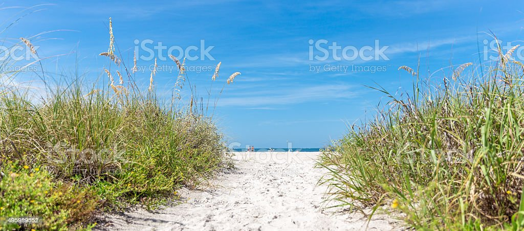 sunny beach with sand dunes and blue sky stock photo