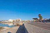 Sunny bike route along the Mediterranean