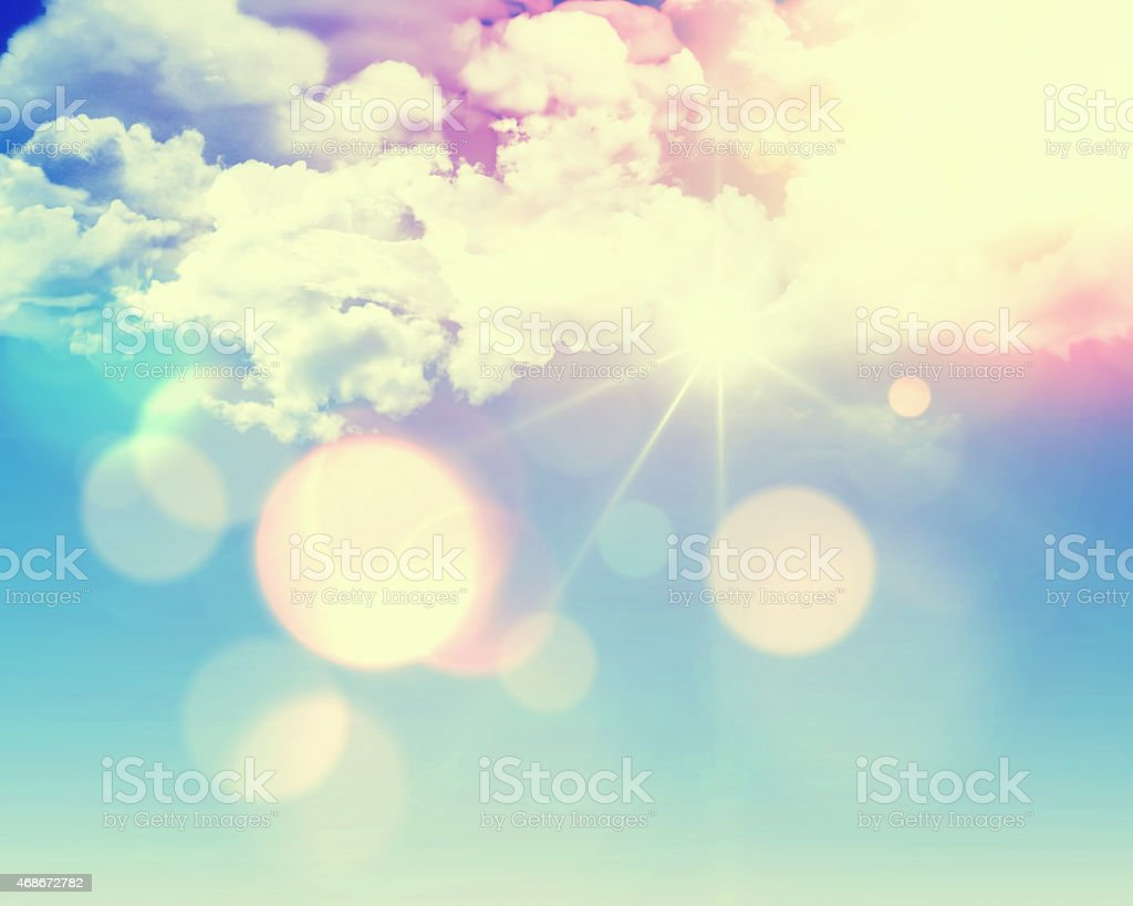 Sunny blue sky with retro effect stock photo
