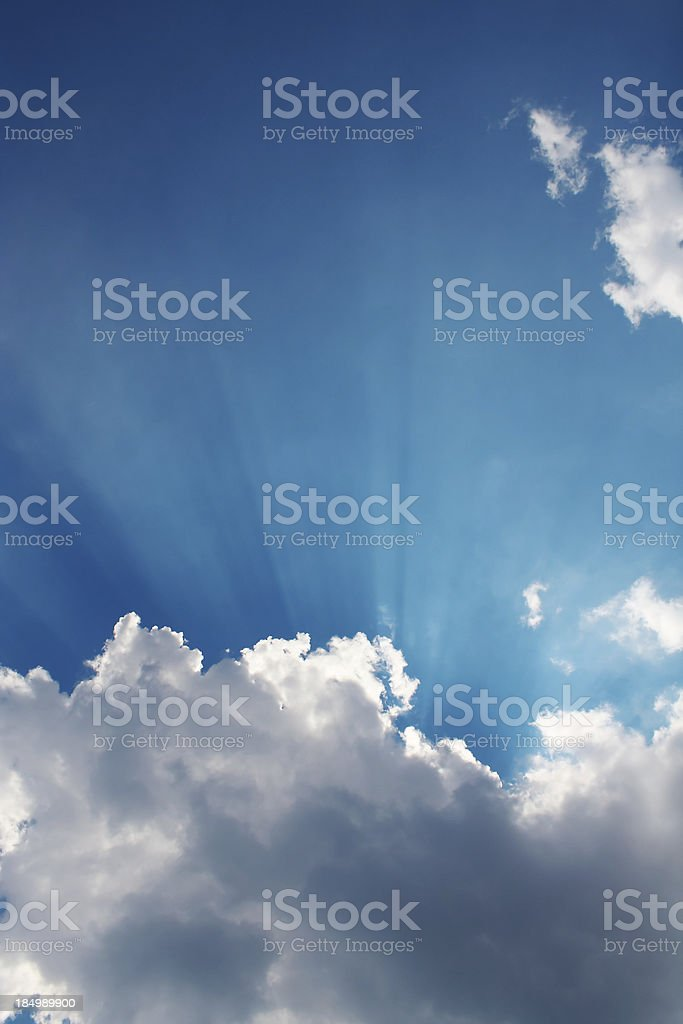 Sunny Blue Sky with White, Fluffy Clouds royalty-free stock photo