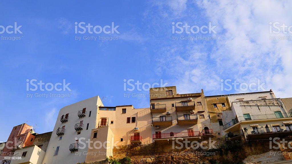 Sunny building with seaview: Castellammare del Golfo stock photo