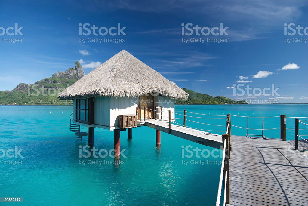 Sunny Bungalow in French Polynesia Vacation stock photo