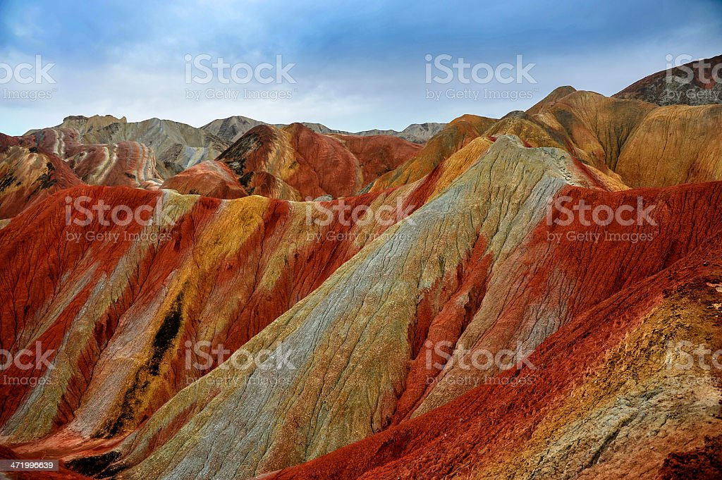 Sunny clear day of the Danxia mountain stock photo