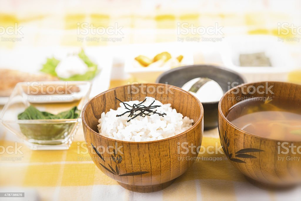 Sunny Close Up of Traditional Japanese Breakfast royalty-free stock photo