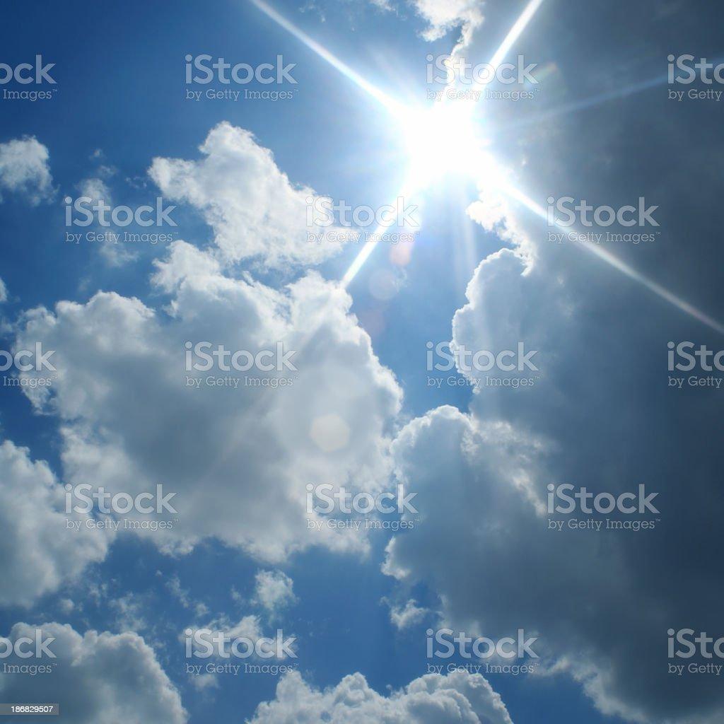 sunny cloudy sky stock photo