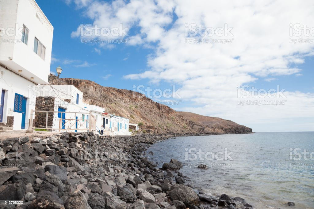 sunny coastline in traditional fishing village Fuerteventura Canary Islands stock photo
