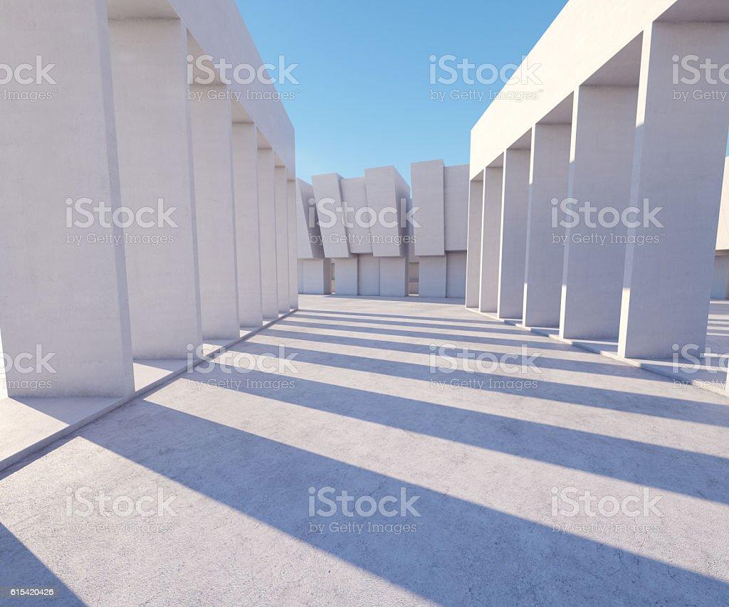 sunny concrete hallway stock photo