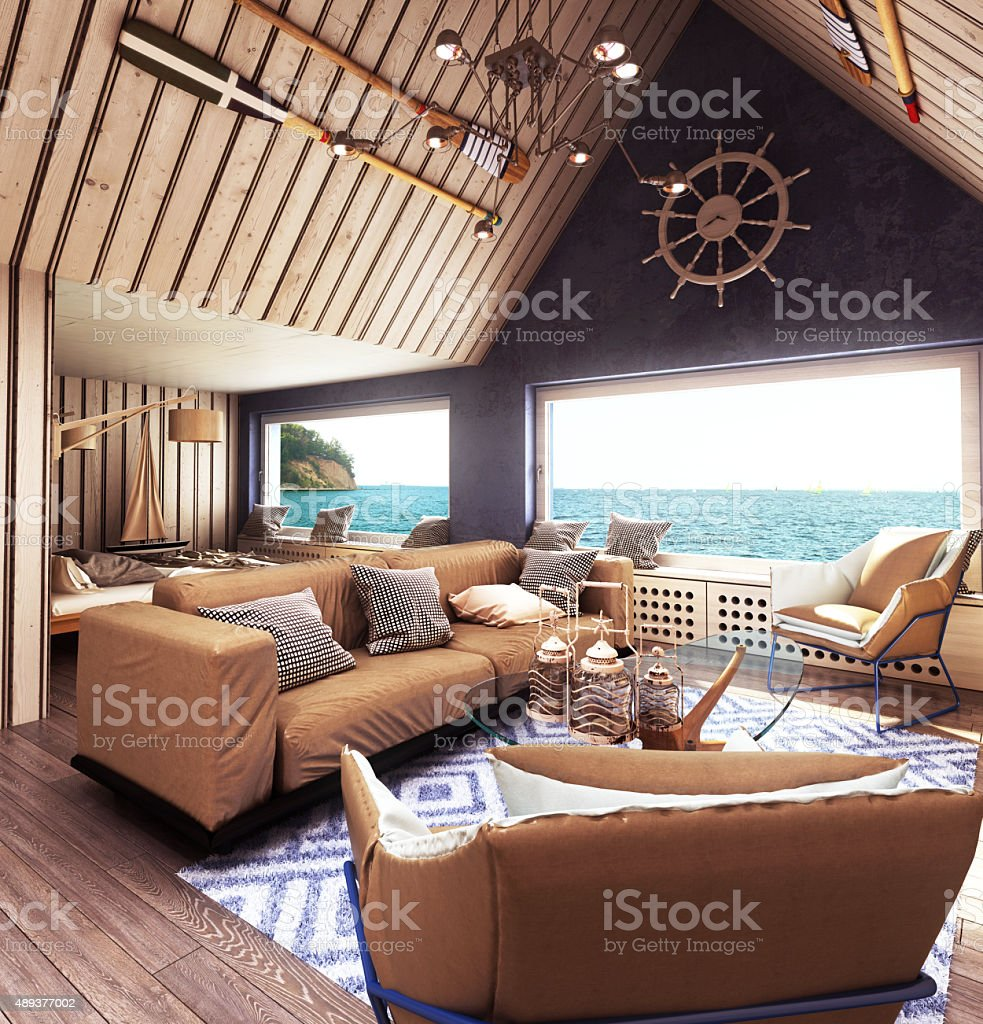 sunny, cozy and comfortable apartment with a sea view stock photo