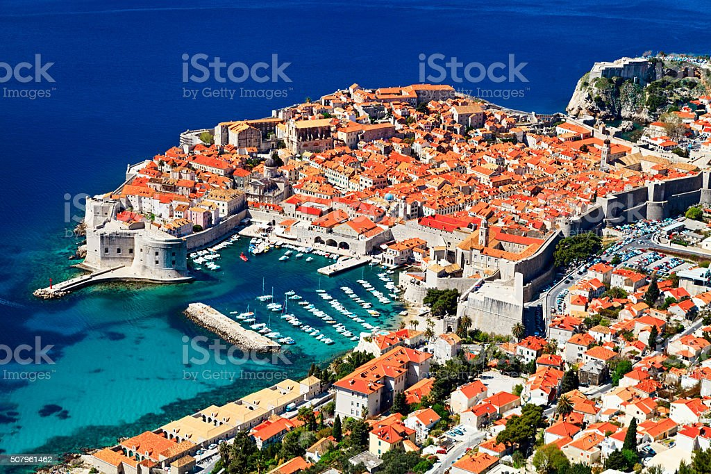 Sunny day aerial view of Old Town Dubrovnik, Croatia. stock photo