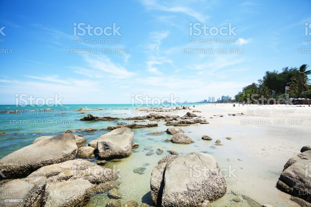 Sunny day and people at Hua Hin beach stock photo