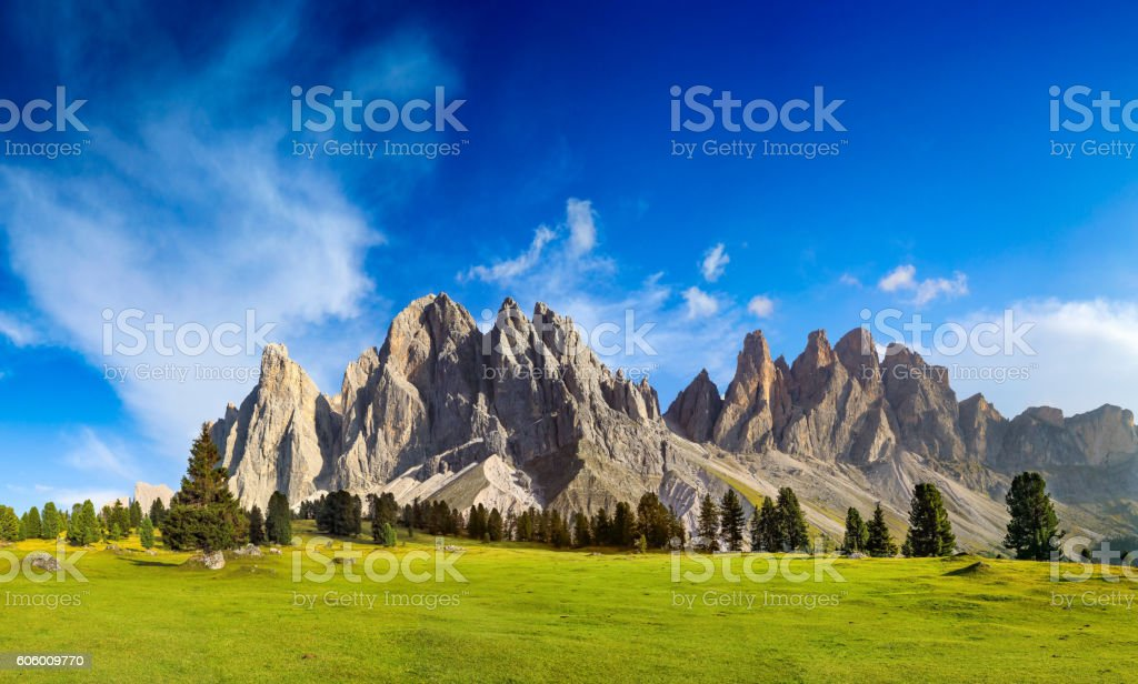 Sunny Day at Geisler Group in Southtirol, Alps stock photo