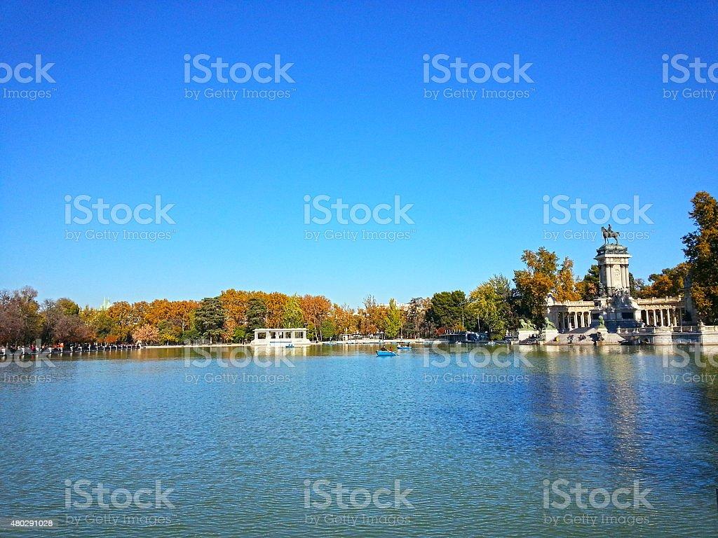 Sunny day at park El Retiro, Madrid stock photo
